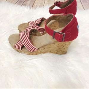 Tom's Red & White Strappy Wedges Size 6.5